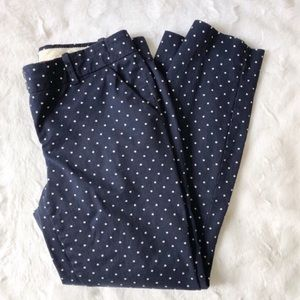 SALE! J. Crew Cafe Capri Navy Blue Polka Dot